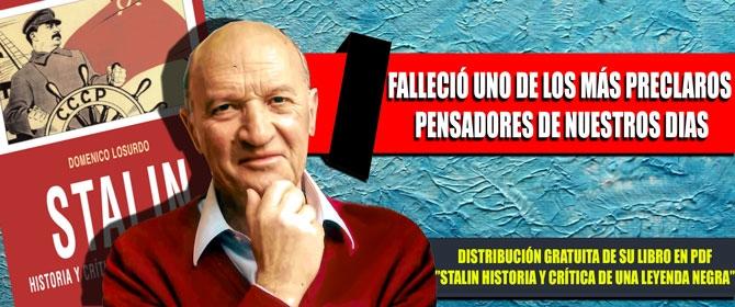 Murió Domenico Losurdo, un gigantesco pensador de nuestro siglo